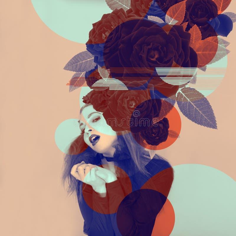 Belle illustration attirante de femme avec des roses et effets de couleur en duotone photographie stock