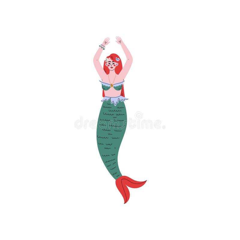 Belle illustration d'une chevelure rouge de vecteur de sirène de sirène illustration de vecteur