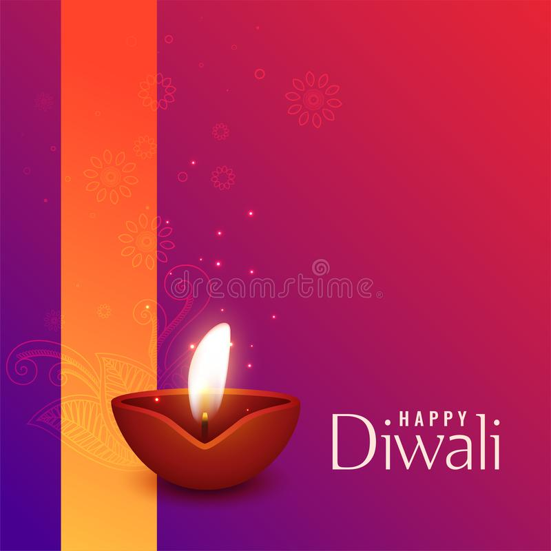 Belle illustration de diya brûlant de diwali illustration stock