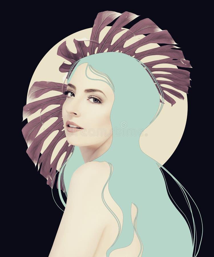 Belle illustration de fille dans des tons de couleur en pastel avec des feuilles de jungle photo libre de droits