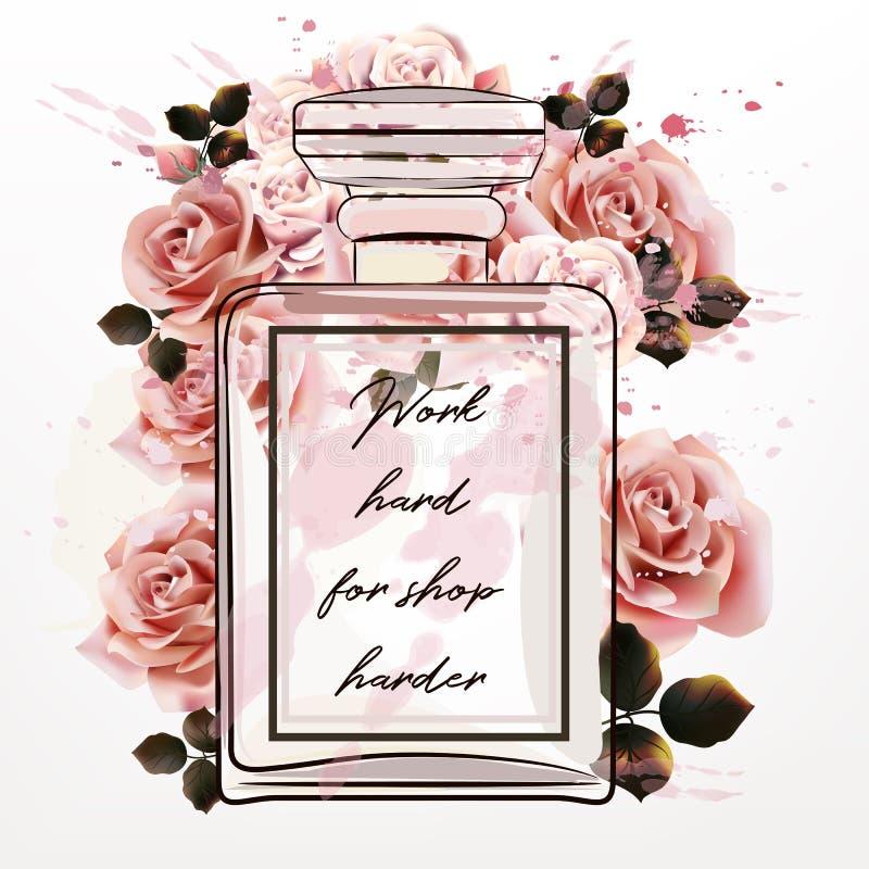 Belle illustration de mode avec la bouteille rose en verre de parfum illustration libre de droits