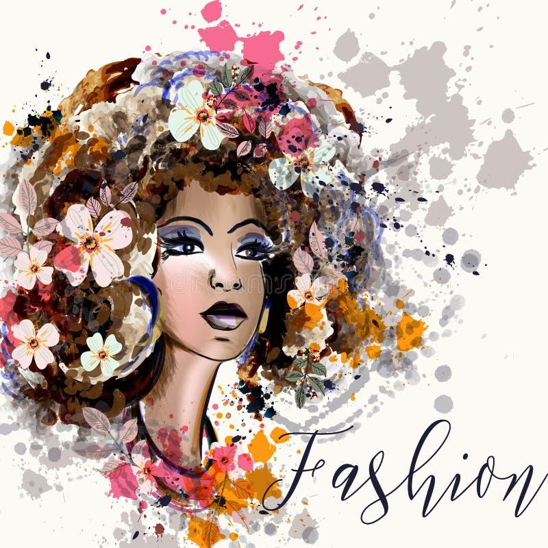 Belle illustration de mode dans le style d'aquarelle avec le portrait illustration de vecteur