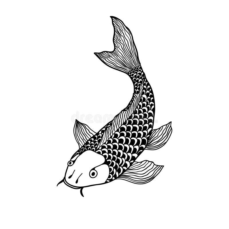 Belle illustration de poissons de carpe de koi dans le monochrome Symbole de l'amour, de l'amitié et de la prospérité illustration stock