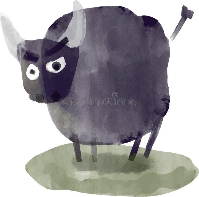 Belle illustration de taureau de vecteur d'aquarelle image stock