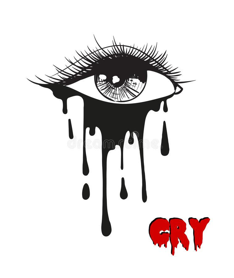 Belle illustration de vecteur avec l'oeil pleurant Illustratio noir illustration de vecteur