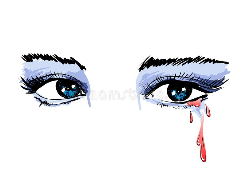 Belle illustration de vecteur avec les yeux pleurants Yeux aqueux du ` s de femmes Yeux avec le mascara d?bordant sur le fond d'i illustration libre de droits