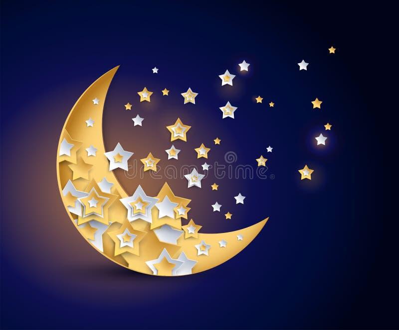 Belle illustration de vecteur de nuit de lune et d'étoiles illustration stock
