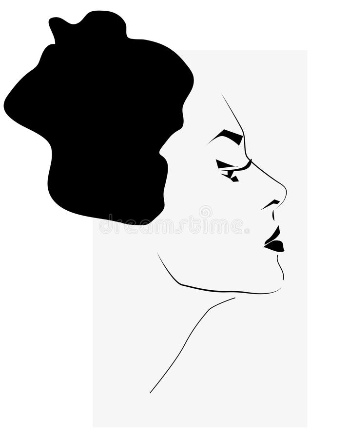 Belle illustration de visage de femme illustration de vecteur