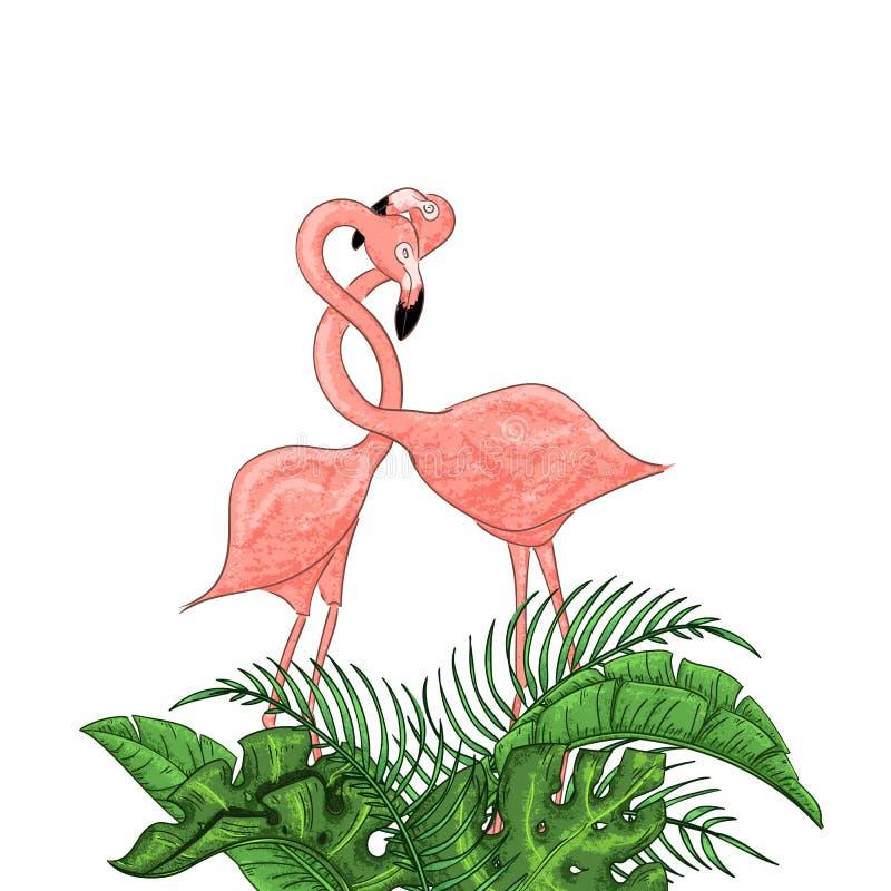 Belle illustration exotique florale de vecteur avec le flamant rose, feuilles tropicales illustration de vecteur