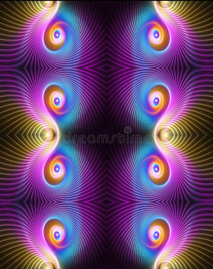 Belle illustration optique sinueuse intermédiaire élégante multicolore générée par ordinateur artistique abstraite de la fractale illustration de vecteur