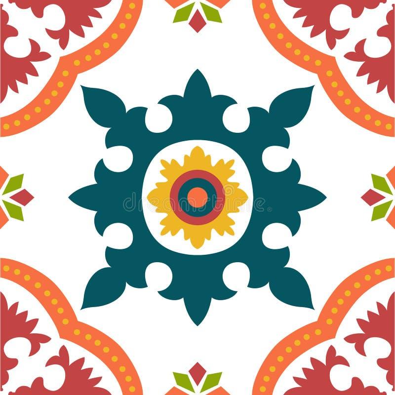 Tuiles colorées sans couture d'ornement illustration de vecteur