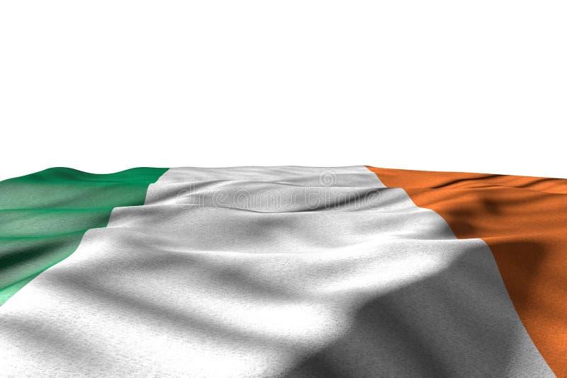 Belle image de maquette de mensonge de drapeau de l'Irlande avec la vue de perspective d'isolement sur le blanc avec l'espace pou illustration libre de droits