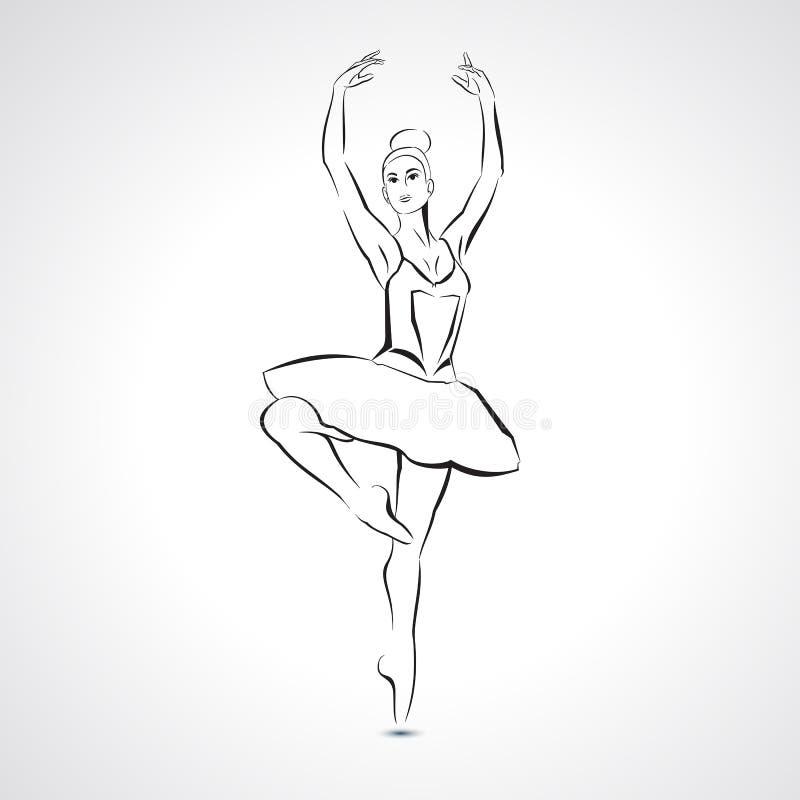 Belle jeune ballerine de silhouette dans la pose de ballet - dirigez l'illustration illustration de vecteur