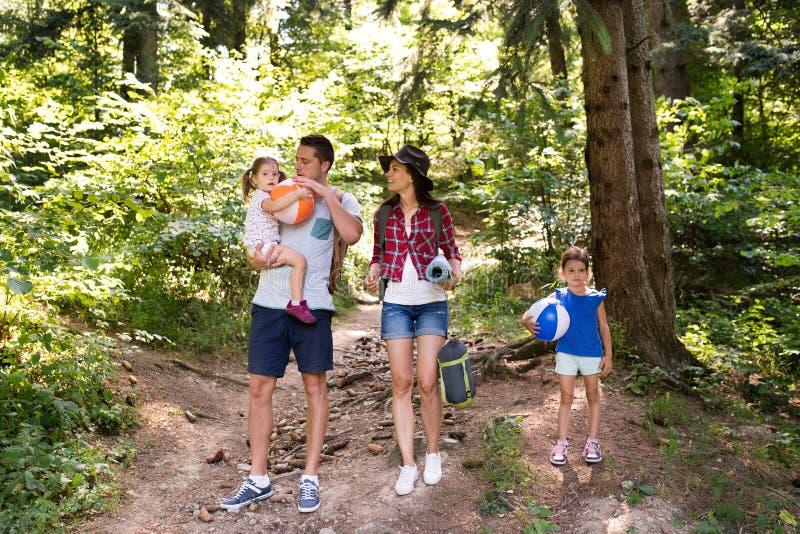 Belle jeune famille avec camper allant de filles dans la forêt photo libre de droits