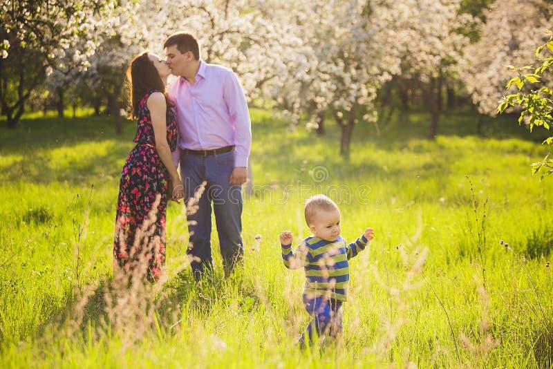 Belle jeune famille ayant le jardin de floraison d'amusement au printemps images libres de droits
