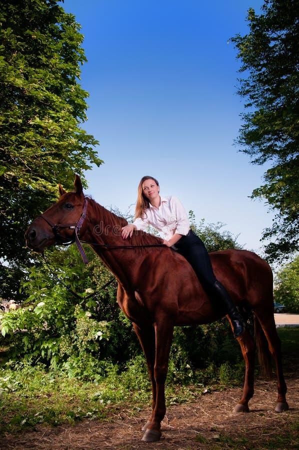 Belle jeune femme à cheval image stock