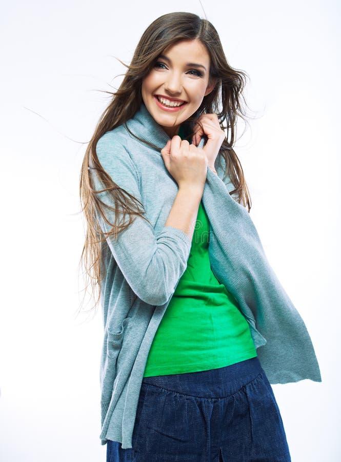 Belle jeune femme avec de longs cheveux. photos stock