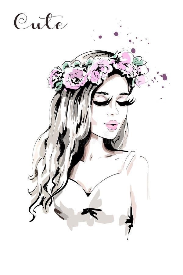 Belle jeune femme avec la guirlande de fleur dans ses cheveux illustration de vecteur