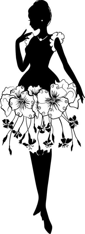 Belle jeune femme avec la robe florale Silhouette illustration illustration stock