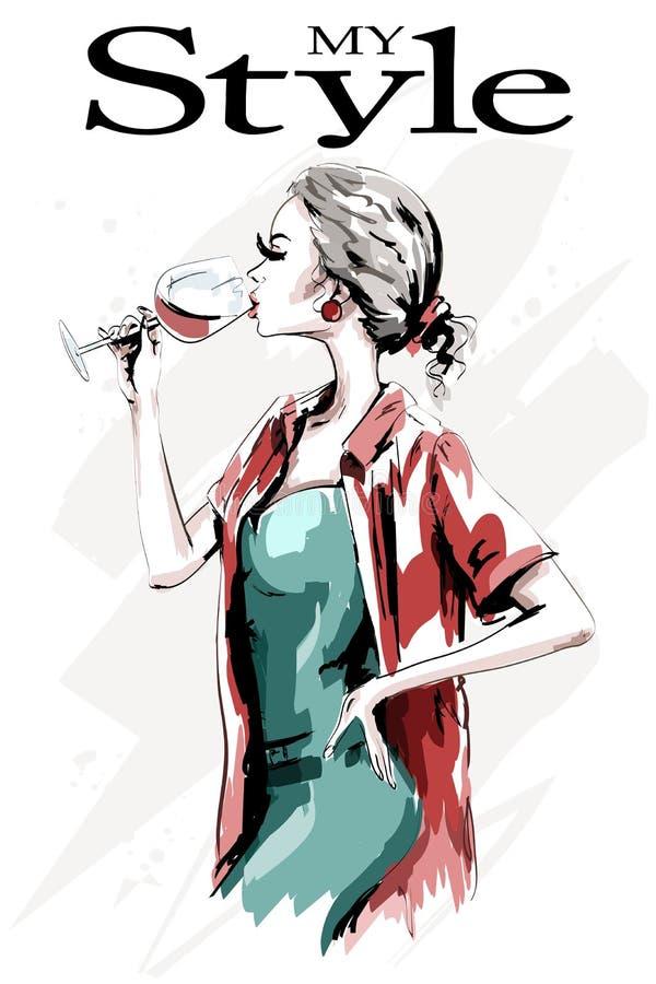 Belle jeune femme avec le verre de vin Tiré par la main mignon illustration de vecteur