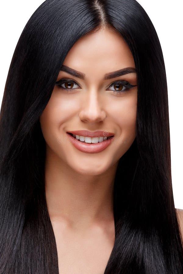 Belle jeune femme avec les cheveux sains propres images libres de droits