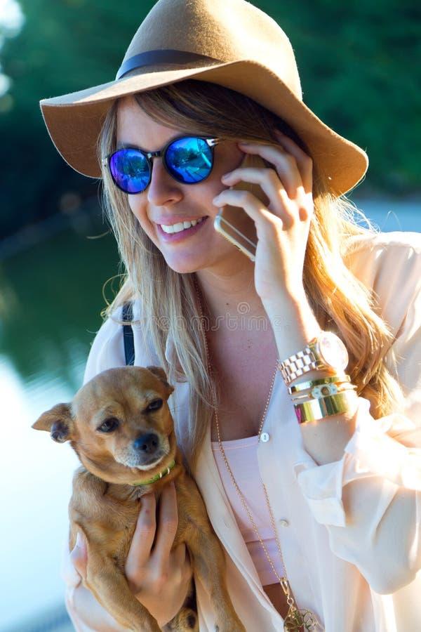 Belle jeune femme avec son chien utilisant le téléphone portable photographie stock