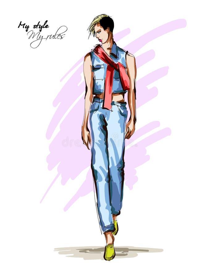 Belle jeune femme avec une écharpe rouge, dans le pantalon bleu de denim et la fille tirée par la main de mode de gilet Pose de m illustration de vecteur
