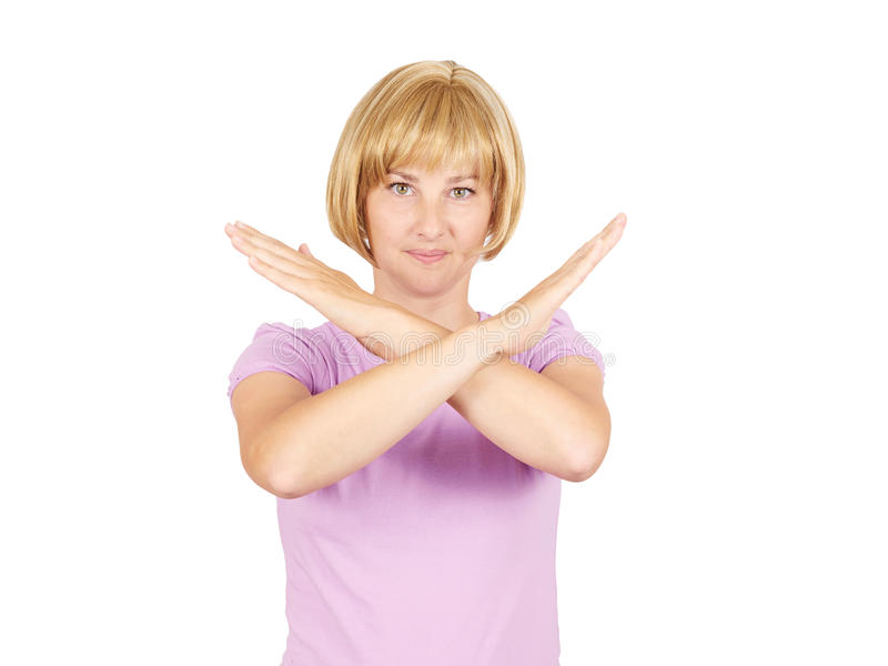 Belle jeune femme d'affaires avec les mains croisées photographie stock libre de droits