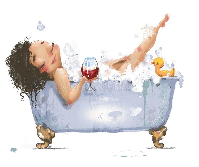 Belle jeune femme dans le bain illustration de vecteur