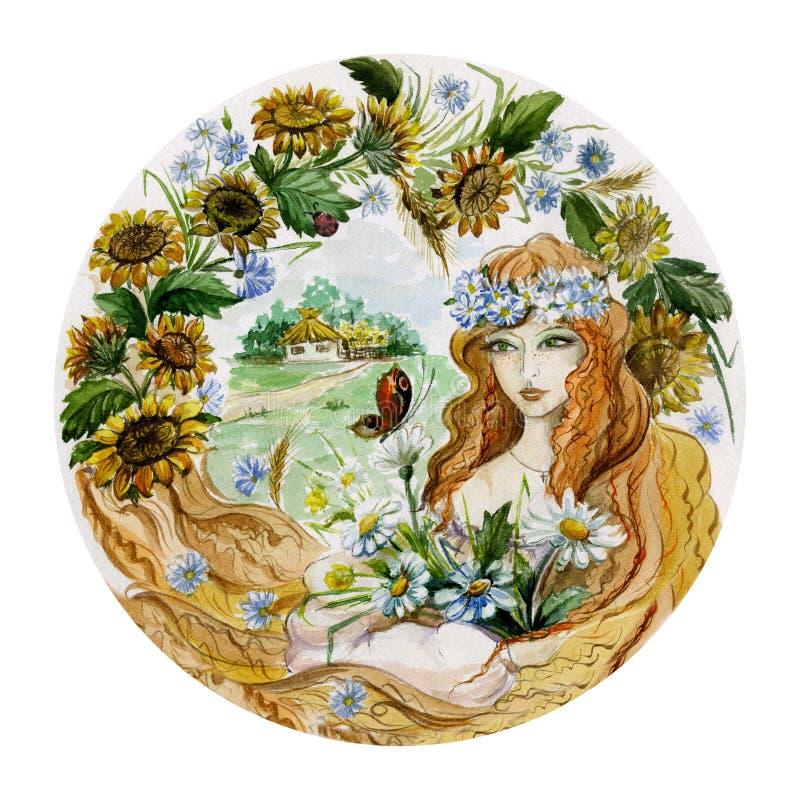 Belle jeune femme dans une guirlande avec le groupe de fleurs sur le fond d'été Concept d'une fille comme été illustration de vecteur
