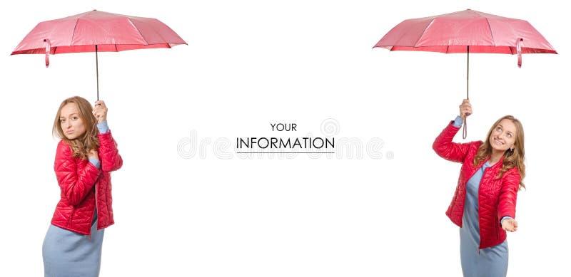 Belle jeune femme dans une veste avec un parapluie dans son modèle réglé de temps de pluie de main photo libre de droits