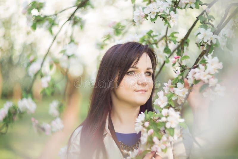 Belle jeune femme de brune se tenant près du pommier de floraison une journée de printemps chaude image stock