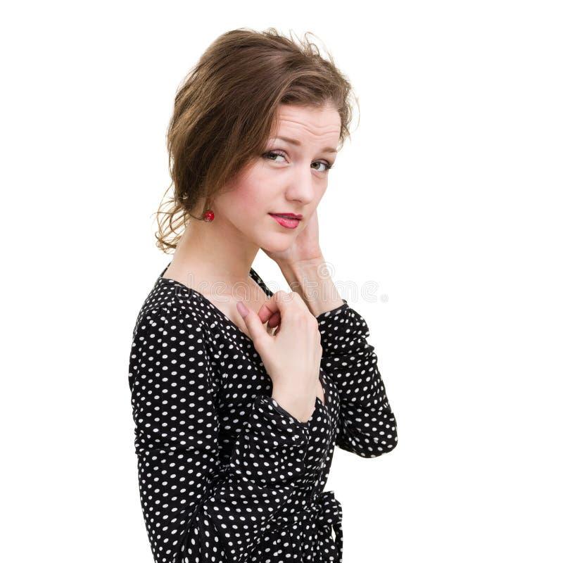 Belle jeune femme de coquette, d'isolement sur le blanc photos stock