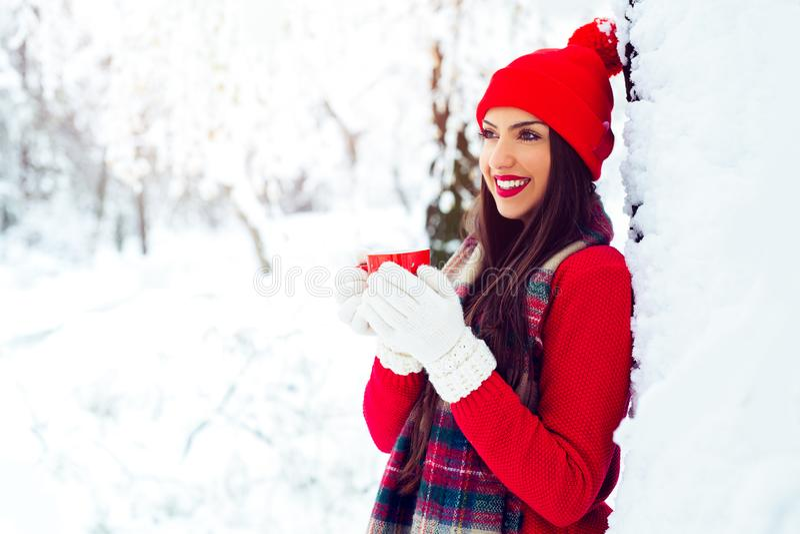 Belle jeune femme de sourire dans l'habillement chaud avec la tasse de thé chaud - image photographie stock libre de droits