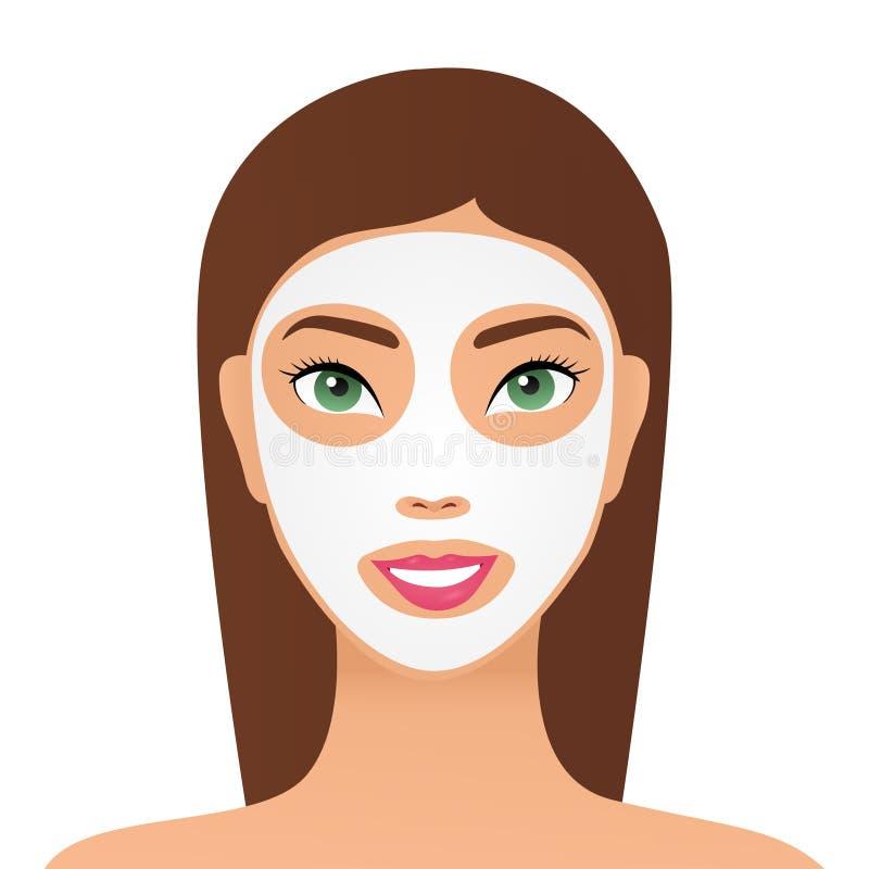 Belle jeune femme en train d'appliquer un masque de maquillage au visage, closeup Femme avec masque cosmétique Portrait d'une fil illustration libre de droits