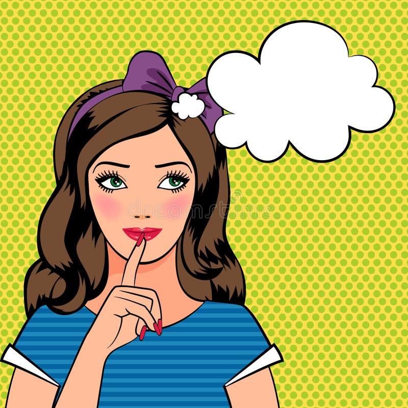 Belle jeune femme pensant dans le style d'art de bruit illustration stock