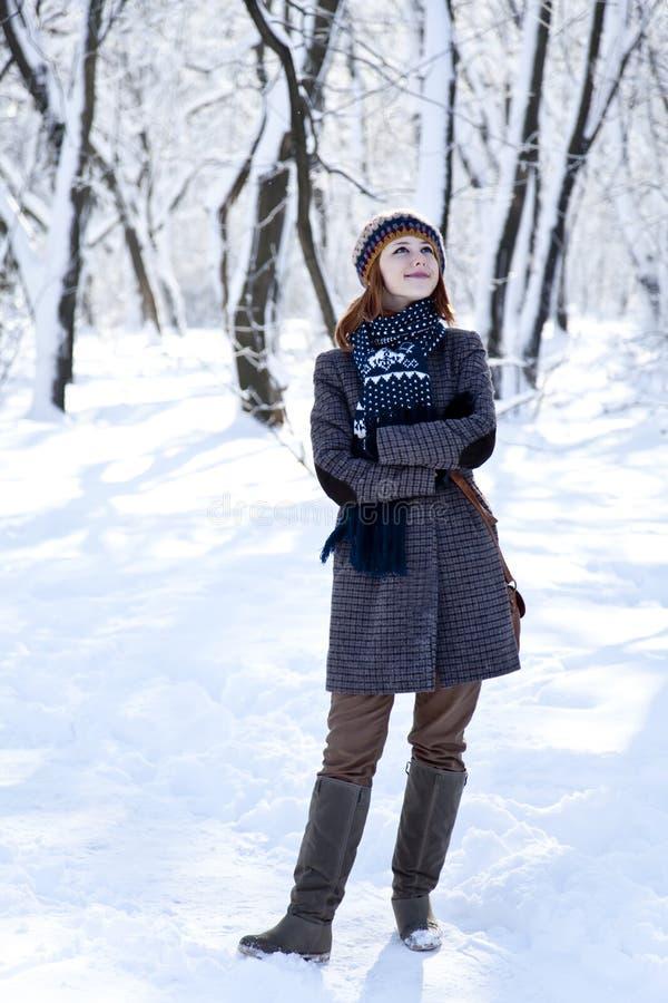Belle jeune femme red-haired en stationnement de l'hiver image stock