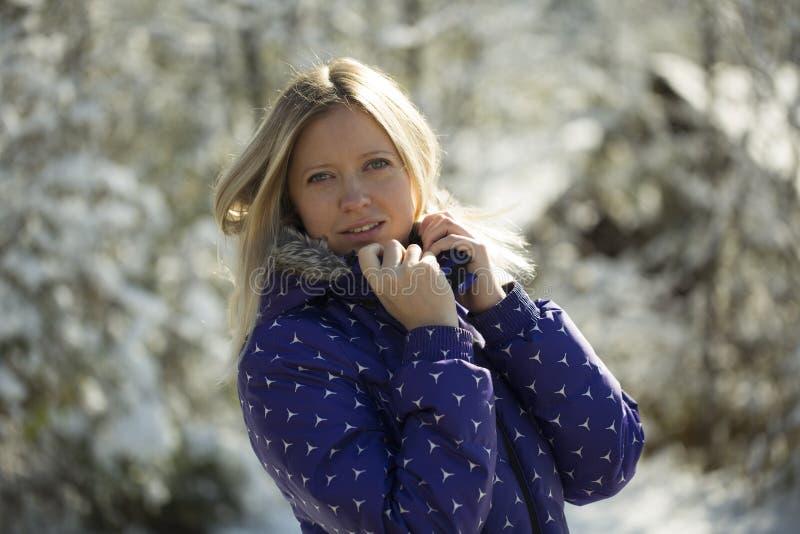 Belle jeune femme se tenant en parc d'hiver, sourire, regardant l'appareil-photo photo stock