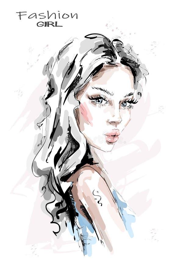 Belle jeune femme tirée par la main avec de longs cheveux Fille élégante Regard de femme de mode croquis illustration libre de droits