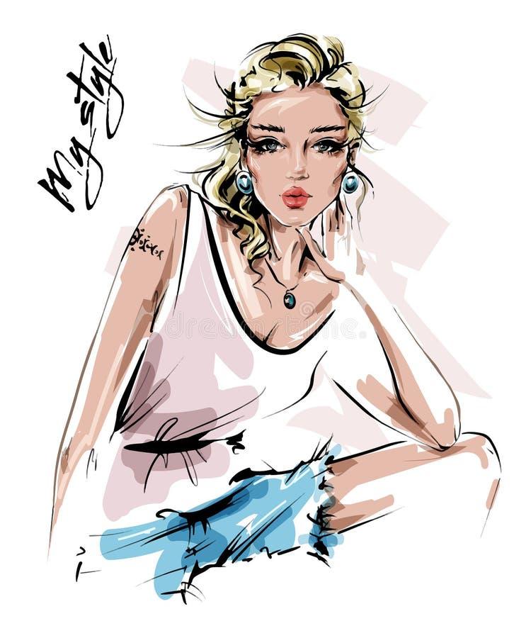 Belle jeune femme tirée par la main dans des vêtements d'été Fille élégante de cheveux de londe Regard de femme de mode croquis illustration libre de droits