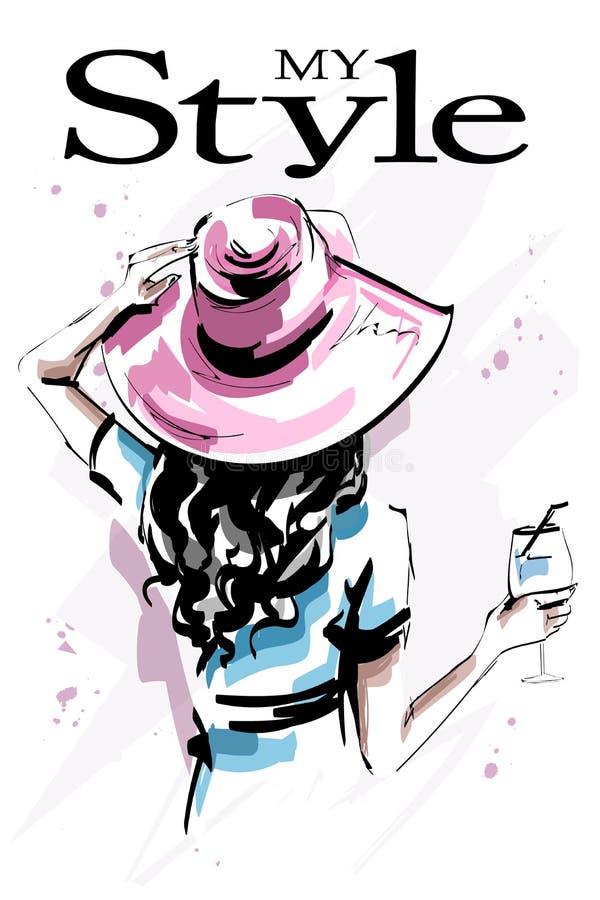 Belle jeune femme tirée par la main dans le chapeau Fille élégante élégante tenant un verre Dos de femme de mode illustration de vecteur