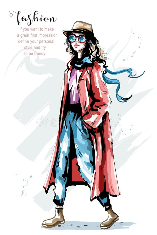 Belle jeune femme tirée par la main dans le manteau Fille élégante élégante dans le chapeau Équipement d'automne de femme de mode illustration stock
