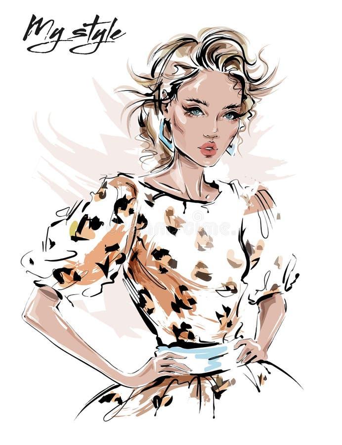 Belle jeune femme tirée par la main dans la robe avec la copie de léopard Fille ?l?gante Regard de femme de mode croquis illustration de vecteur