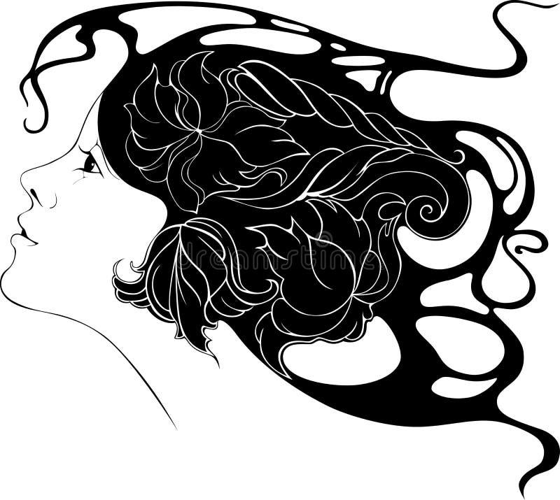 Belle jeune fille avec des fleurs dans ses cheveux dans le style de l'AR illustration libre de droits
