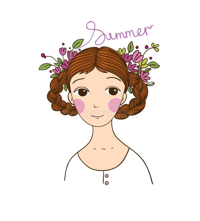 Belle jeune fille avec des tresses et des fleurs illustration de vecteur
