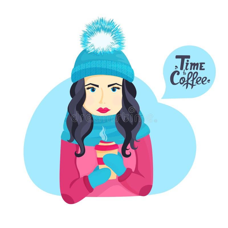 Belle jeune fille dans un chapeau d'hiver avec un pompon pelucheux et dans une écharpe tenant une tasse de café chaud illustration de vecteur