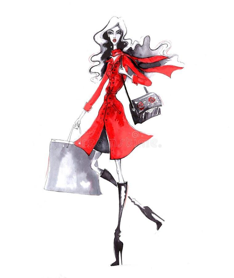 Belle jeune fille de mode Femme élégante dans des vêtements de mode Fille tirée par la main illustration de vecteur