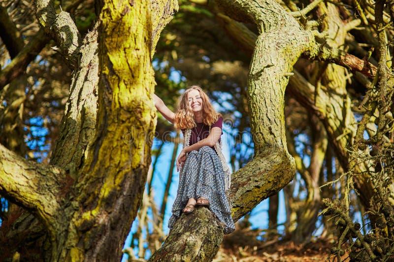 Belle jeune fille romantique s'asseyant en parc de Presidio à San Francisco images stock