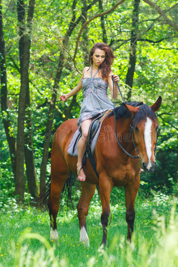 Belle jeune fille sur le cheval image stock