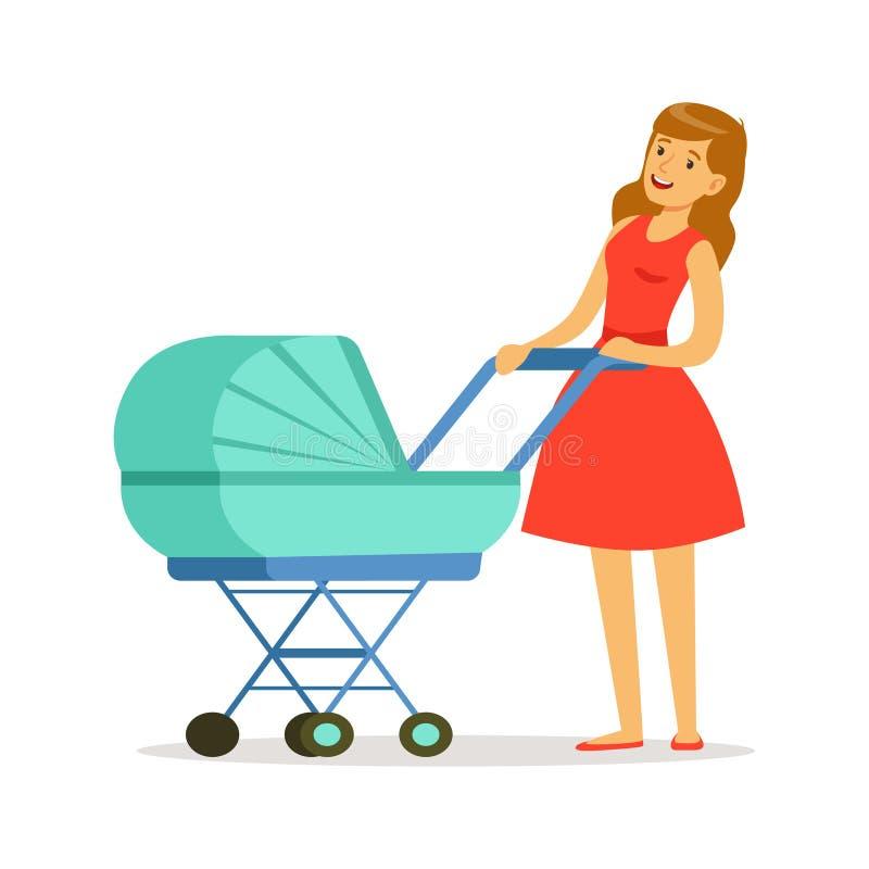 Belle jeune mère dans la robe rouge marchant avec son bébé nouveau-né dans une illustration colorée de vecteur de landau bleu illustration libre de droits
